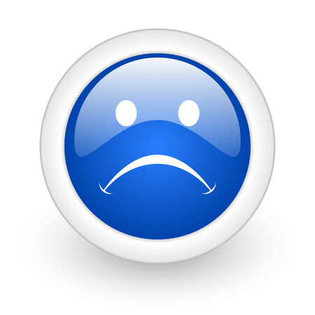 negate: cry blue glossy icon on white background