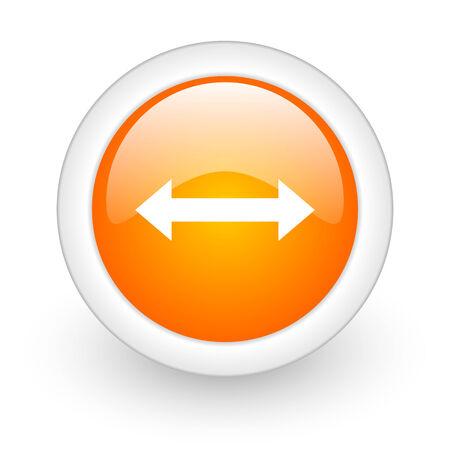 course of action: arrow orange glossy web icon on white background