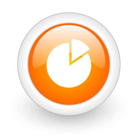 chart orange glossy web icon on white background  photo