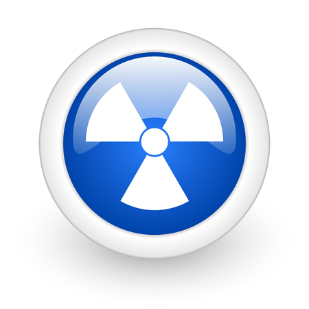 radiation blue glossy icon on white background  photo