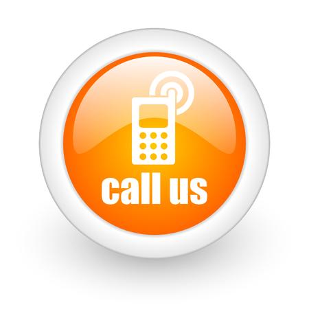 call us: call us orange glossy web icon on white background