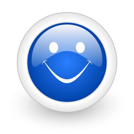 smile blue glossy icon on white background  photo