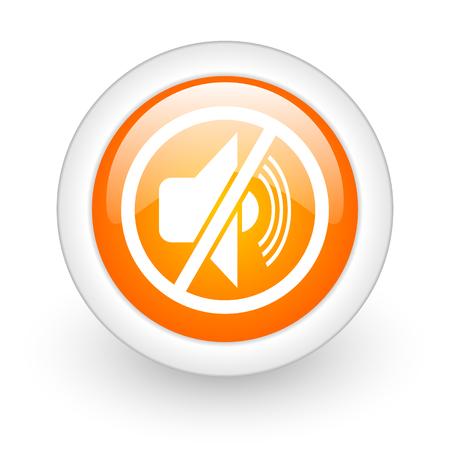 mute orange glossy web icon on white background  photo