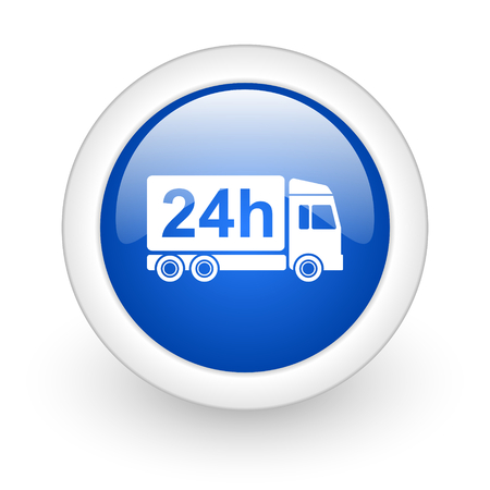 delivery blue glossy icon on white background  photo