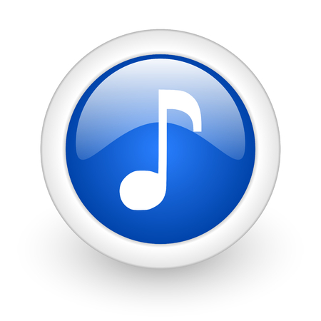 music blue glossy icon on white background  photo
