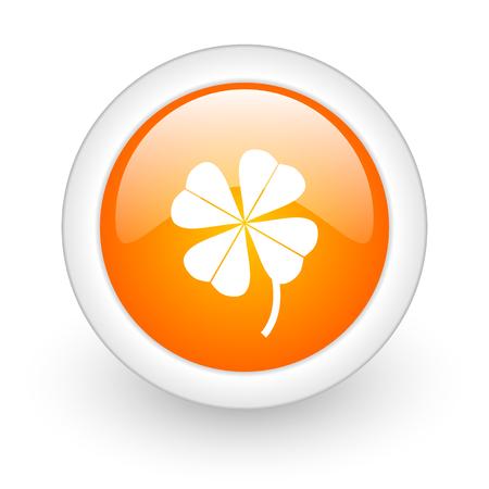 four-leaf clover orange glossy web icon on white background  photo