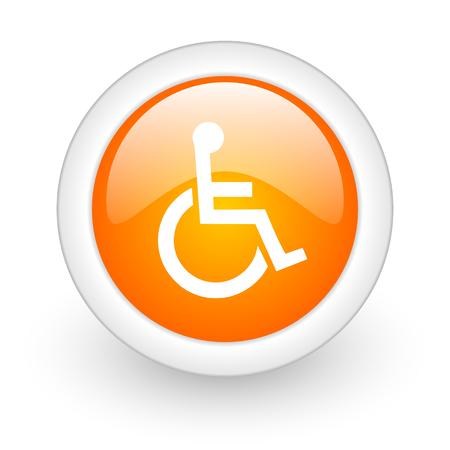 wheelchair orange glossy web icon on white background  photo