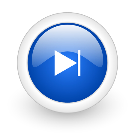 next blue glossy icon on white background  photo