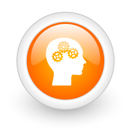 head orange glossy web icon on white background  photo
