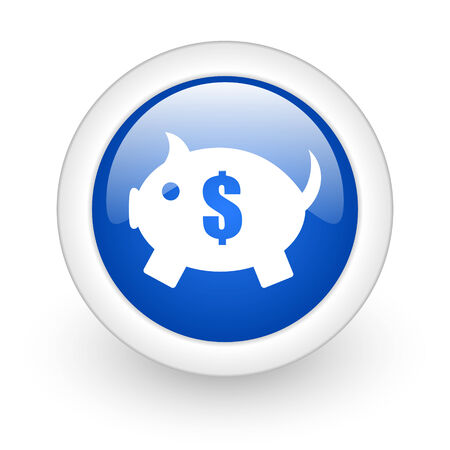 piggy bank blue glossy icon on white background  photo