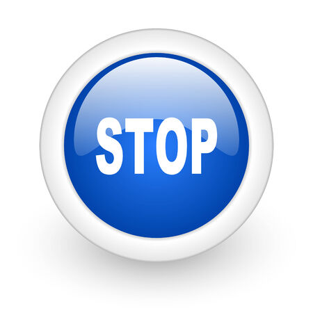 proscribed: stop blue glossy icon on white background