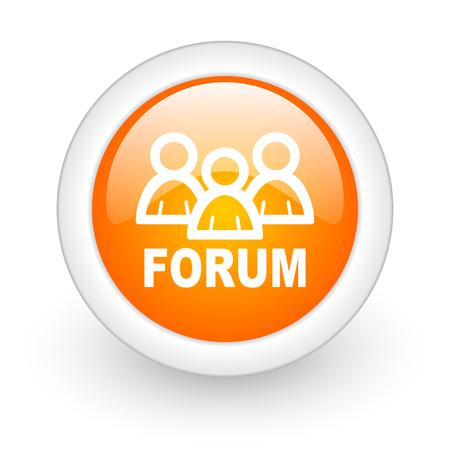 forum orange glossy web icon on white background  photo