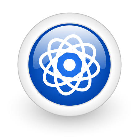 atom blue glossy icon on white background  photo