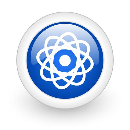atom blue glossy icon on white background  photo