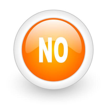 negate: no orange glossy web icon on white background  Stock Photo