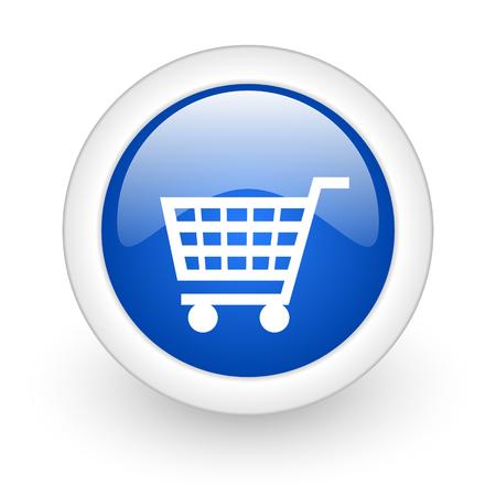 cart blue glossy icon on white background  photo