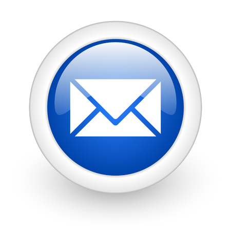 email blue glossy icon on white background  photo