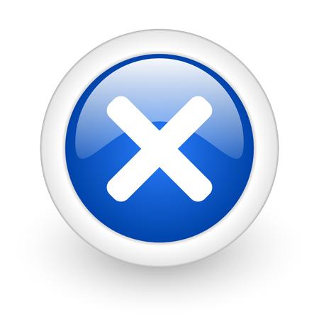 cancel blue glossy icon on white background  photo