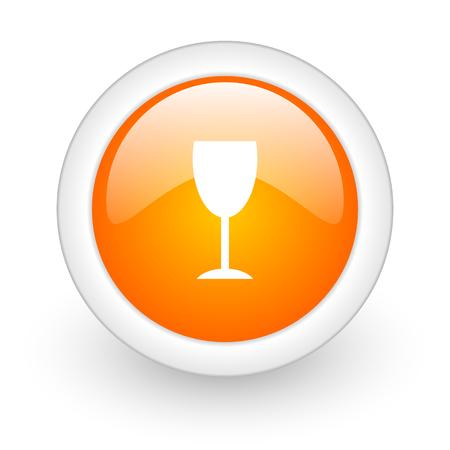 champain: alcohol  orange glossy web icon on white background