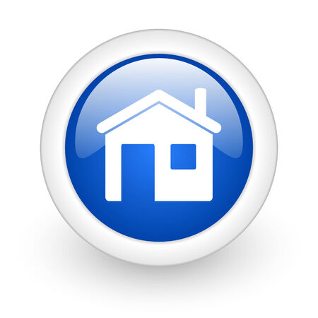 house blue glossy icon on white background  photo