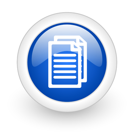 document blue glossy icon on white background  photo