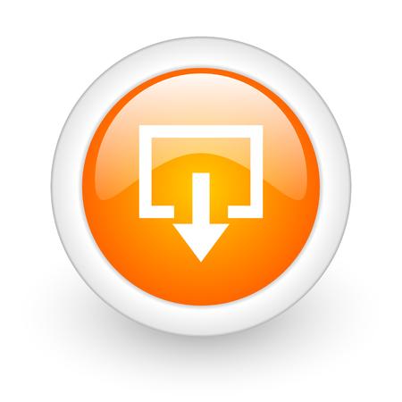 exit orange glossy web icon on white background  photo