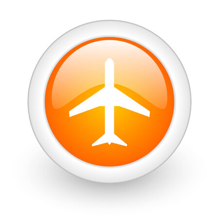 plane orange glossy web icon on white background  photo