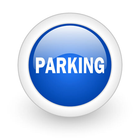 parking blue glossy icon on white background  photo