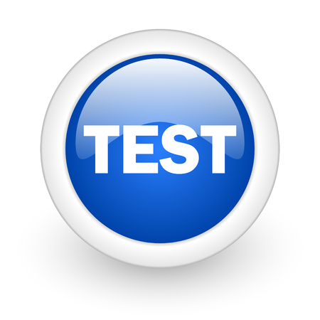 test blue glossy icon on white background  photo