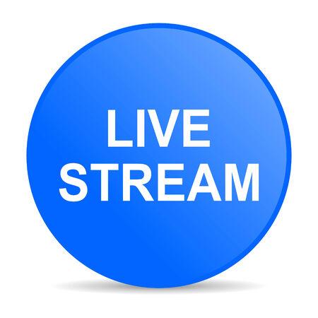 live stream movie: live stream internet blue icon  Stock Photo