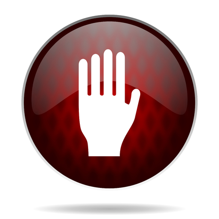 the coachman: stop red glossy web icon on white background  Stock Photo