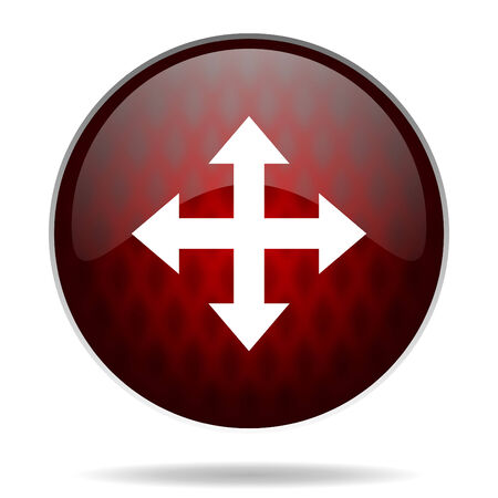course of action: arrow red glossy web icon on white background