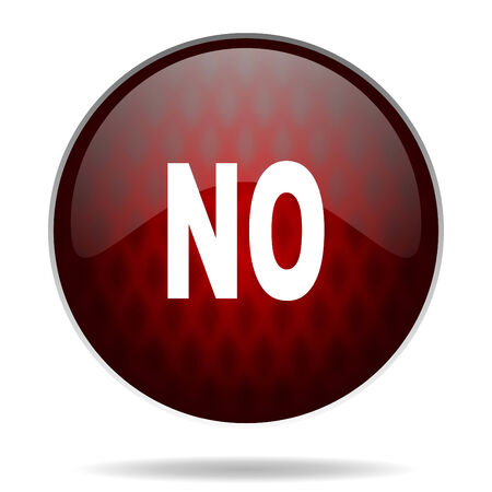 negate: no red glossy web icon on white background  Stock Photo