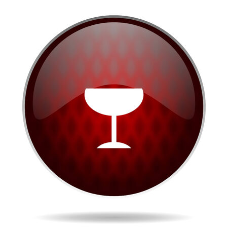 champain: alcohol  red glossy web icon on white background