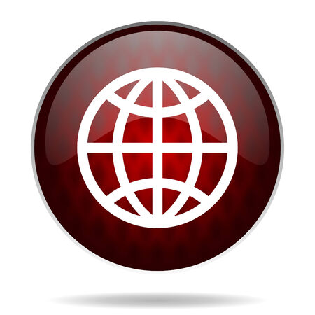 parallels: earth red glossy web icon on white background
