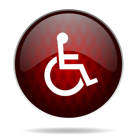 wheelchair red glossy web icon on white background  photo