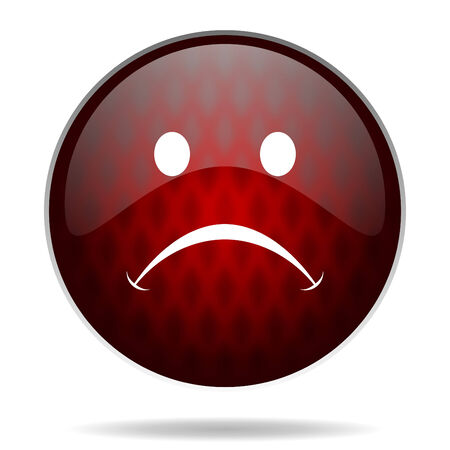 negate: cry red glossy web icon on white background
