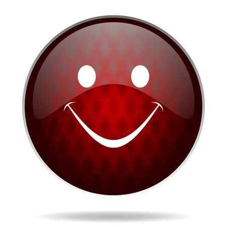 smile red glossy web icon on white background  photo