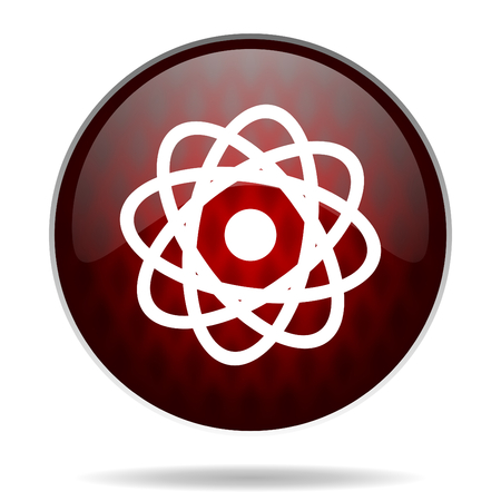 atom red glossy web icon on white background  photo