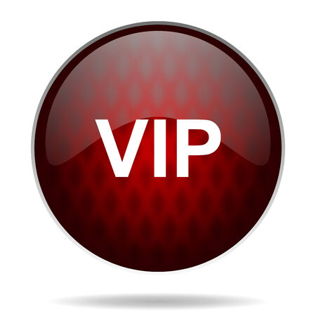 vip red glossy web icon on white   photo