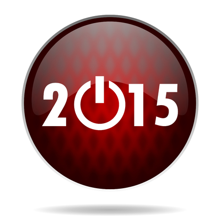 new year 2015 red glossy web icon on white background   photo