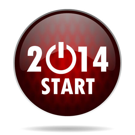 year 2014 red glossy web icon on white background  photo