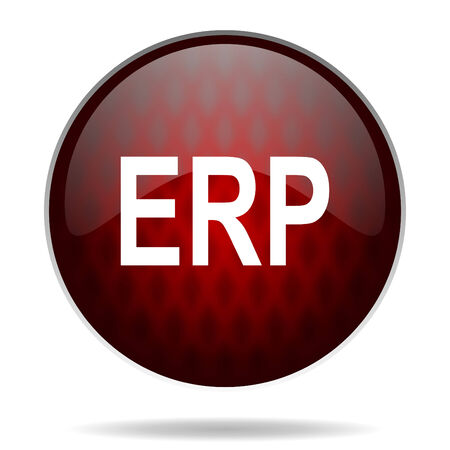 erp red glossy web icon on white background  photo