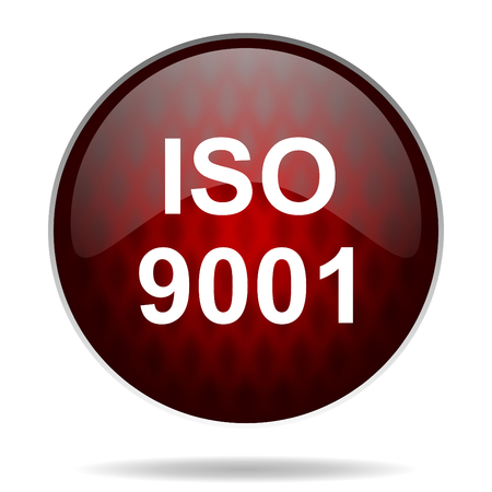 norm: iso 9001 red glossy web icon on white background  Stock Photo