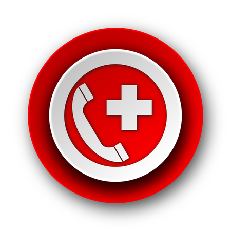 emergency number: emergency call red modern web icon on white background  Stock Photo