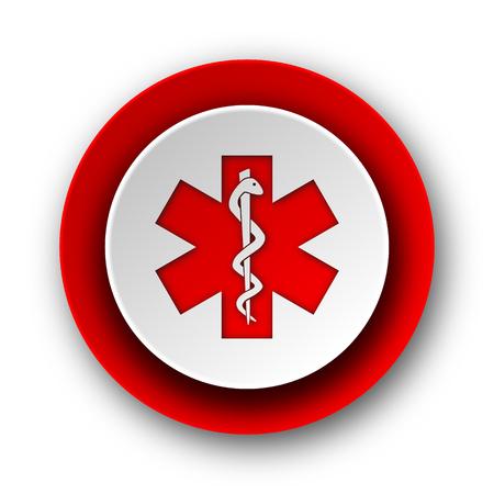 emergency red modern web icon on white background