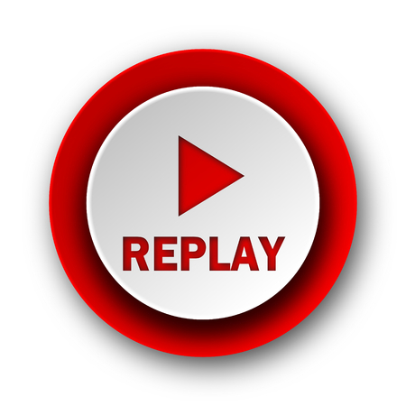 replay red modern web icon on white background  photo
