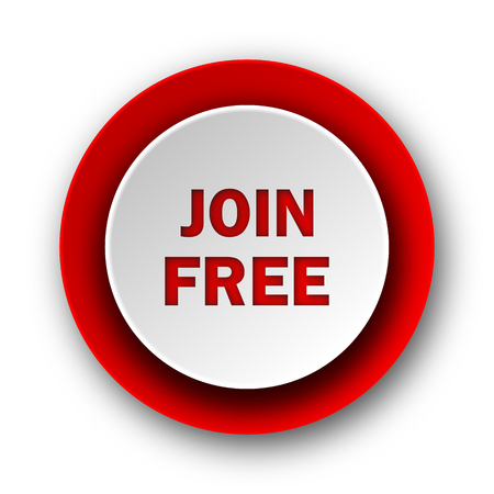 join free red modern web icon on white background