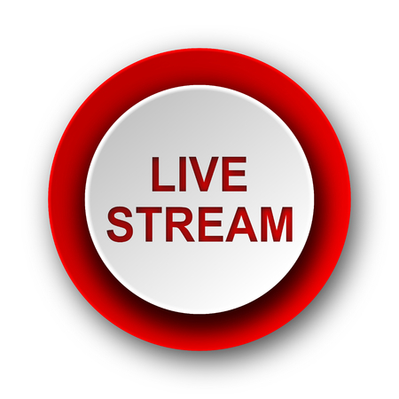 live stream movie: live stream red modern web icon on white background  Stock Photo
