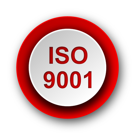 iso 9001 red modern web icon on white background  photo